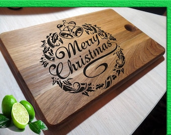 MERRY CRISTMAS Custom cutting board, Cristmas cutting board, Wedding gift, Engraved Cutting board, Wood Cutting Board, Gift for Cristmas
