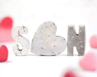 Concrete Initials - Concrete letters - Wedding Gift - Anniversary Gift  - Mothers day gift - Gift for her - unusual anniversary gift
