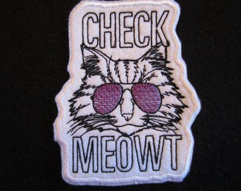 Embroidered Cat Iron ON Patch, Cat Patch, Check Meowt Patch, Iron On Cat Patch