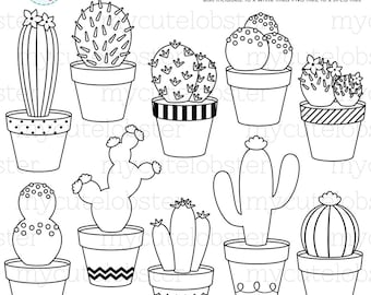 Cactus Digital Stamps - cactus line art, outlines, stamps, cacti, cactuses - personal use, small commercial use, instant download