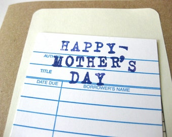 Mother's Day Card // Library and Book Theme