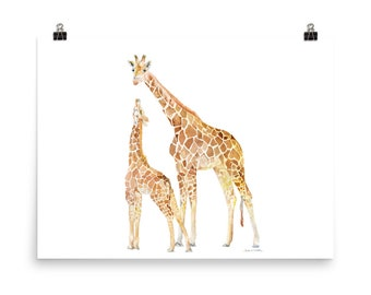 """Giraffes Watercolor Mother and Baby Large art Print 24""""w x 18""""h Nursery Art"""