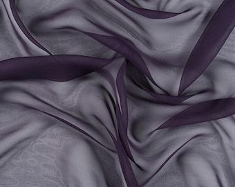 """45"""" Wide 100% Silk Chiffon Eggplant Purple By the Yard (5000M159)"""
