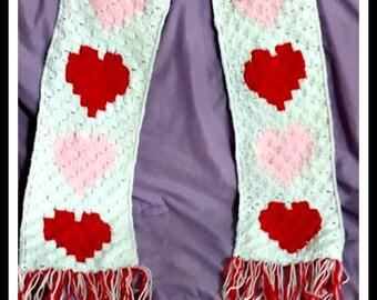 Hearts Scarf, C2C Graph, Crochet Pattern