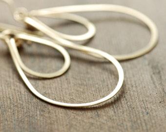 Hoop Earrings 14k Gold Fill, Layered Teardrops, Metal, aubepine