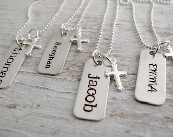 First Communion Necklace, Confirmation Gift, Hand Stamped Necklace for Boy or Girl, Faith, Cross, Sterling Silver