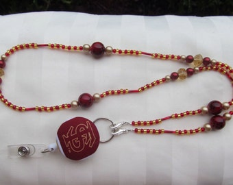 ID Badge Lanyard Florida State Beaded Lanyard Scarlet Red and Gold Seminoles Retractable ID Badge Reel