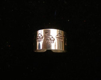 Sterling Silver Adjustable Open Back Tapered Hand Stamped Navajo Style sz.11 1/2 ring #SR-009