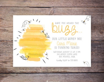 Bumble Bee Birthday Invitations - Printable Bumble Bee Party Invite - Bee Party - Bee Themed Party - Print at home