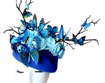 Royal Blue Butterflies Hat; Blue Flowers and Butterfly Fascinator; Ascot Hat; Wedding Hat; Formal Hat; Butterfly Headpiece; Luxury Hat