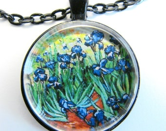 van Gogh IRISES Necklace -- Detail from the Vincent van Gogh masterwork Irises,  Blue iris necklace,  Friendship token