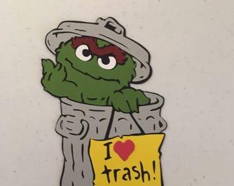 Oscar the Grouch die cut from Sesame Street