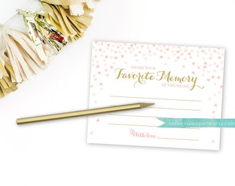 My Favorite Memory of the Bride Cards . Printable Bridal Shower Games . Printable Instant Download . Gold Glitter . Pink and Gold . Digital
