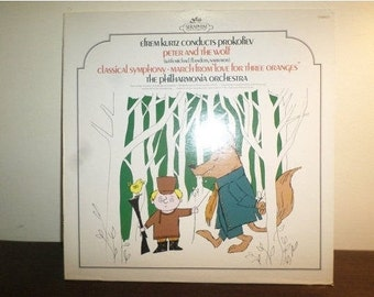 Vintage 1959 Classical LP Record Love for Three Oranges Peter and the Wolf Near Mint Condition 7949