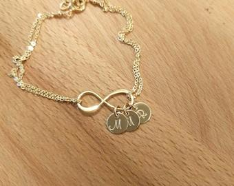 Personalized Infinity Bracelet, Initial Bracelet, Gold Infinity, Gold Filled Jewelry, Bridesmaids Bracelet, Dainty Mother's Bracelet, Anklet