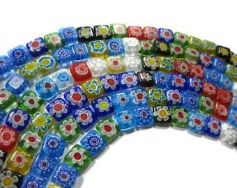 50 Single Flower Millefiori Beads 10mm