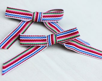 Ribbon Hair Clips - Red Stripes