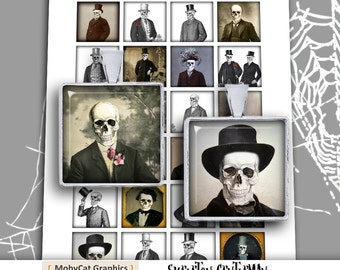 """Skeleton Gentleman Square Images 1x1"""" and 1.5x1.5"""" Printable images for Jewelry Making Digital Collage Sheet -  Instant Download"""