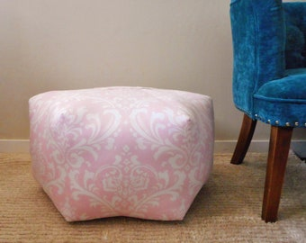 Pink Pouf, Pink Ottoman, Nursery decor girl, floor cushion, Footstool,
