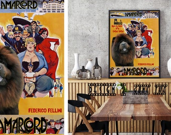 Chow Chow Dog Art Amarcord Vintage Movie Poster Giclee Print  or Gallery wrapped Canvas ready to hang on the wall Gift for Her Gift For Him