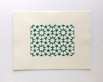 linocut - TESSELATION // 8x10 // printmaking // block print // dark green // geometric print // 5x7 // original art // hand-printed // stars