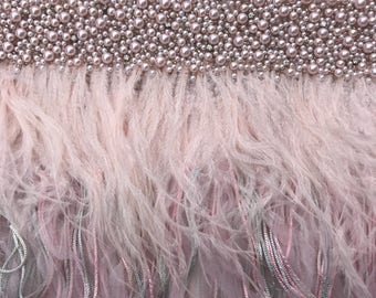 Couture Luxury Hand Embroidered Tulle with Pearls, Threads and Ostrich Feathers-- 4 yards