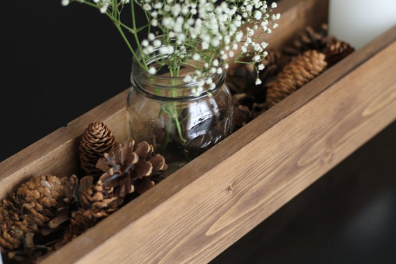 Rustic Wooden Centerpiece, Rustic Wedding Centerpiece, Rustic Home Decor, Centerpiece Box, Wooden Candle Holder, Wooden Plant Box