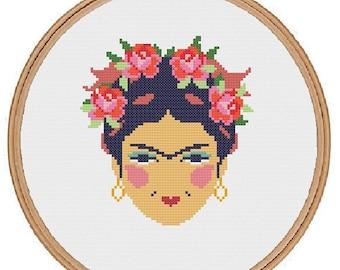 Frida Kahlo cross stitch pattern - instant download pdf- feminist modern cross stitch - subversive - Art Mexican