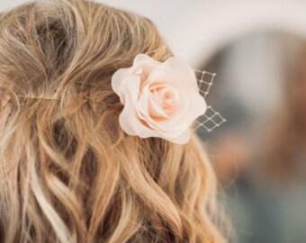 Bridal Cream  Hair Flower, Wedding Hair Flower, Wedding Hairpiece,  Bridal Flower Comb, Floral Wedding Hair Accessory