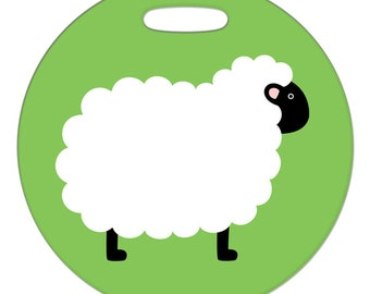 Luggage Tag - Sheep - 2.5 inch or 4 Inch Large Round Plastic Bag Tag