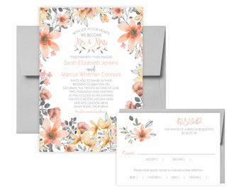 Poppies Gray and Peach Watercolor Invitation Suite: 5x7 Invitation, RSVP Card, Envelopes