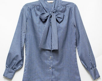 70s Houndstooth secretary blouse