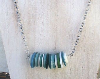 Button Necklace, Bar Necklace, Funky Jewelry, Colorful Necklace, Green Teal Blue Necklace, Casual Jewelry, Gift for Her, Adjusts up to 23in