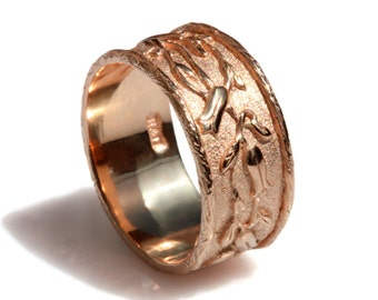Woodland gold band, 14k rose Gold wedding band, women wide ring, flowers Textured ring, Textured wedding band, nature inspired