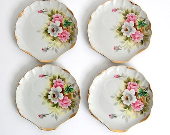 Vintage handpainted china Plates Floral / bridal tea party luncheon / Pink Chartreuse Yellow / Set of 4 / shabby chic / pretty hand painted