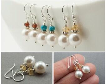Gemstone and Pearl Earrings, Custom Birthstone Jewelry, Personalized Gift, White Swarovski Pearl, Sterling Silver Dangle Drop, Minimalist