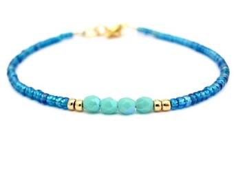 Turquoise Bracelet, Seed Bead Bracelet, Friendship Bracelet, Summer Jewelry, Ocean Blue AB, Yoga Zen, Turquoise Bridesmaid, Blue Wedding