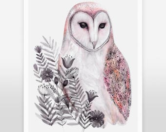 Barn owl art print, watercolor owl print, birds art print, owl home decor, woodland art, nature art, nursery animal art,