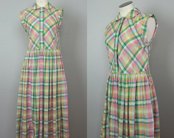Vintage 1950s 1960s Pastel Plaid Dress. Peter Pan Summer Dress. Small