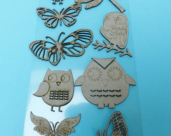 9 large embellishment wooden OWL Butterfly Dragonfly chipboard OWL