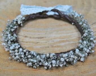 Gypsophila flower crown, Wedding flower crown, floral crown, dried flower crown, natural flower crown, flower crown with dried flower, Bride