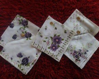 NEW Vintage Bulgarian napkins, Set of 5 high quality handkerchies, Rare woman's napkins, Old napkins, Floral  handkerchies, Wedding napkins
