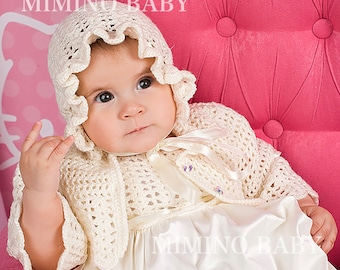 MERINO Christening gown, girl baptism gown, baby girl christening outfit, baptism set, christening dress, infant gown, christening gift