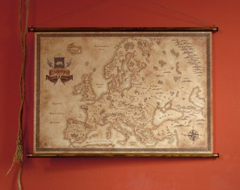 """Fantasy styled map of Europe, pull down canvas Europe map, 83 x 58 cm / 32.7"""" x 22.8"""""""