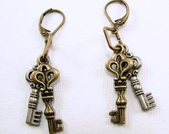 Mixed Metal Keys Earrings, Simple Key Earrings, Mixed Metal Jewelry