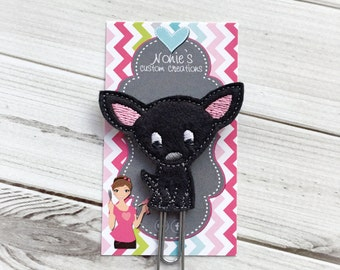 Chihuahua Paper Clip- Chihuahua Paperclip - Planner Accessories - Chihuahua Feltie- Planner Paper Clips - Planner Accessory-Black Chihuahua