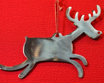 Metal Rudolph the Red Nosed Reindeer, Christmas Ornament, Reindeer Ornament, Modern Ornament, Minimalist Ornament, Whimsical Christmas, Gift