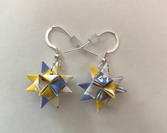 Moravian Star Earrings—Blue & Yellow Pattern