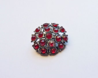 Ruby Red Rhinestone Cluster Pin, Antique Red Pot Metal Pin