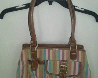 vintage canvas purse with pockets Multie color